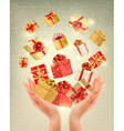 Christmas gold background with gift boxes and vector image vector image