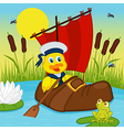 Duckling floating on lake in boot vector image