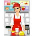 female caucasian cashier at fast food restaurant vector image