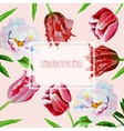 Card with tulips and peonies vector image