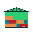 delivery icon with warehouse building vector image