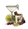lemon drop martini and white russian cocktails vector image