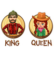 King and queen characters on round badges vector image vector image