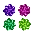 Set of Purple Pink Green Ribbon Bows Isolated vector image