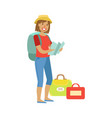 woman standing with traveling backpack and bags vector image