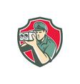Policeman Speed Camera Shield Retro vector image vector image