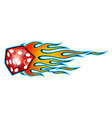 burning dice with classic tribal flames vector image