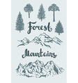 Hand drawn mountain landscape and isolated trees vector image
