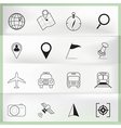 Map and Location Icons on paper folding vector image