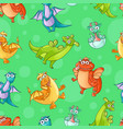 seamless pattern with comic dragon characters vector image