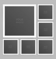 square photo frame set mock up with shadow vector image