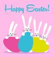 three bunny happy easter vector image