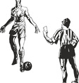 Soccer referee takes a card to player vector image