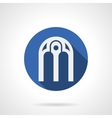 Intricate arches blue round icon vector image