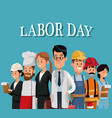 labor day card with people occupation difference vector image