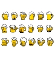 Beer mugs and tankards with froth vector image vector image