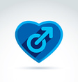 Heart with a blue male man gender symbol Lesbian vector image