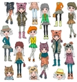 seamless pattern with cute hipster girl vector image