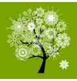 Spring beautiful white tree vector image