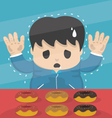 Young dieting man Stand in sweet shop vector image