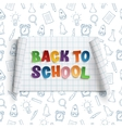 Back to school curved banner on squared paper vector image