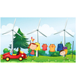 Kids playing at the hill with hanging clothes vector image