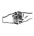 figure nice hands together like friendship symbol vector image