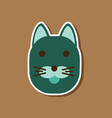 paper sticker on stylish background cartoon cat vector image vector image