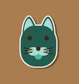 Paper sticker on stylish background cartoon cat vector image