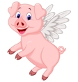 Cute pig cartoon flying vector image