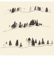 Mountains With Fir Forest Contours Engraving vector image