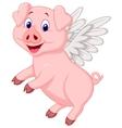 Cute pig cartoon flying vector image