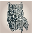 Ornamental decorative wolf predator pattern vector image