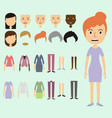 set of dress up constructor with different vector image