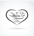 dog and hand in the heart on white background vector image