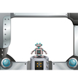 A metallic frame with a robot standing in the vector image