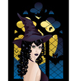 Witch near Gothic Window2 vector image