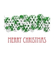 Christmas pattern with green and white snowflakes vector image