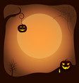 halloween poster background with luminous pumpkins vector image