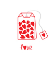 Teabag with hearts Love card vector image