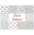 Human cartoon faces patterns vector image