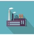 Factory with Long Shadow in Flat Style vector image