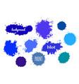 blue paint splash set of brush strokes vector image