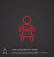 baby outline symbol red on dark background logo vector image
