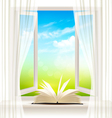 Background with an open window and open book vector image