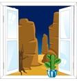 Window in desert vector image