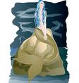 Beautiful mermaid sitting on rock by the sea vector image