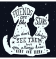Cat and dog friends grungy card vector image