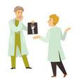 doctors and xray hand cartoon characters vector image
