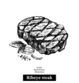 Hand drawn sketch ribeye steak isolated food on vector